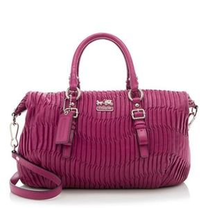 Coach Juliette Gathered Leather Satchel - Fuchsia